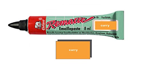 Helmecke & Hoffmann Remalle Emaille Paste Emaillelack Reparaturlack Lack in vielen Farben je 8 ml + Pinsel Fuer Jede Tube (Curry)