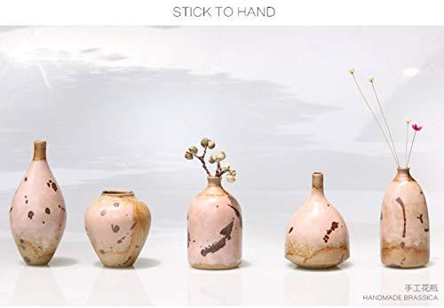 QHP Decoración de Jarrón Japonés Zen Pequeño Cinco Piezas Ceremonia del Té Florero de Té Botella Piedra Cerámica Arte Trabajo Hecho a Mano Jingdezhen Tao, Decoración, Traje de Cinco Piezas