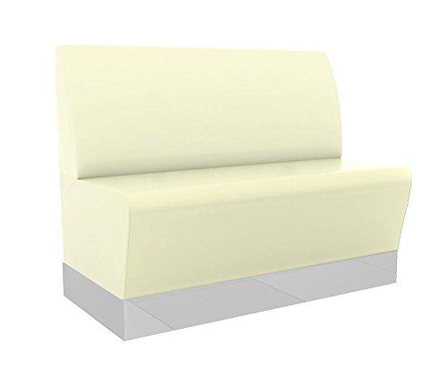 GGM Möbel (Chicago) Gastro Sitzbank 120x95cm | Creme | Glatt | Gastrobank Dinerbank Polsterbank Bistro Lounge Bank Dinermöbel Loungemöbel
