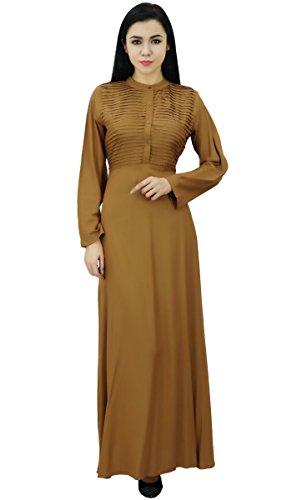 Bimba Damen Langarm Maxi Mandarin Kragen Glatt Jilbab Kleid Mit Taschen  Hellbraun