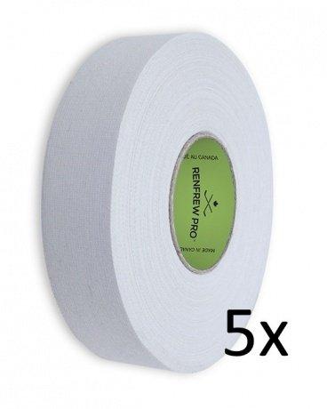 5x Renfrew Schlägertape Pro Cloth Hockey Tape weiß 24mm f. Eishockey 45m