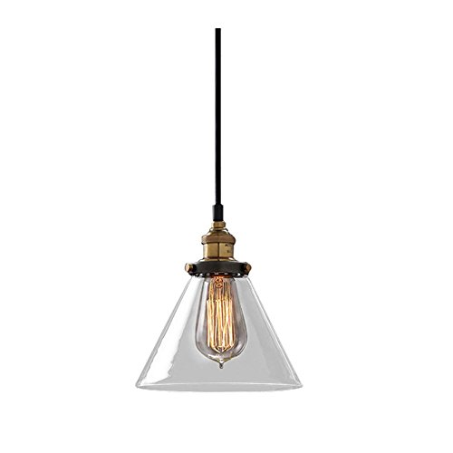 Modern Vintage Industrial Metal Glass Cone Ceiling Pendant Light Shade