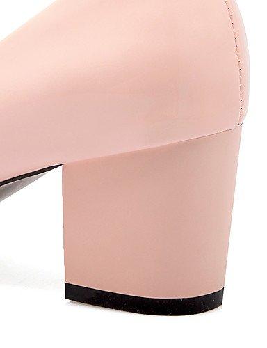WSS 2016 Chaussures Femme-Bureau & Travail / Décontracté-Noir / Bleu / Rose / Beige-Gros Talon-Talons / Confort / Bout Arrondi-Talons-Cuir Verni / pink-us6.5-7 / eu37 / uk4.5-5 / cn37