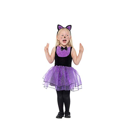 NET TOYS Entzückendes Katzen-Kostüm für Kinder | Schwarz-Violett in Größe T2, 3 - 4 Jahre, 100 - 113 cm | Hübsches Mädchen-Outfit Miezekatze | Perfekt geeignet für Kinderfest & Kindergeburtstag