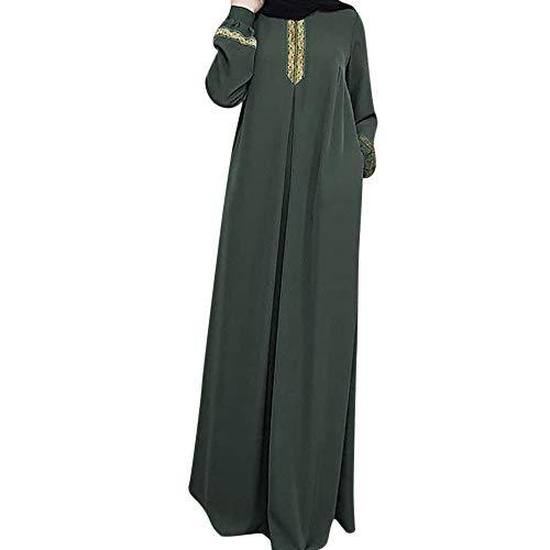 Lazzboy Frauen Plus Größe Drucken Abaya Jilbab Muslim Maxi Casual Kaftan Langes Kleid Robe Maxikleid Langarm Sticken Gewand Abendkleid Große Dubai Hochzeit Tunika Lang Kleider(Grün,2XL) -