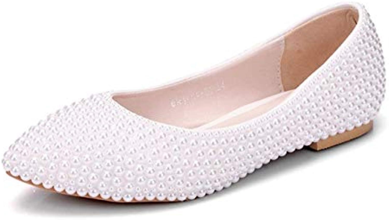 Mesdames Zhrui Appartehommes Toe De Poited Mariée Perles Rq085