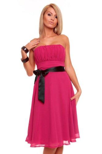 Knielanges Bandeau Kleid Chiffon Ballkleid Abendkleid Cocktailkleid Festkleid XS bis XXL L (38) Pink