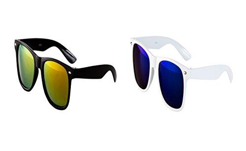 2 er Set Nerd Sonnenbrille Nerd Brille Feuer verspiegelt Schwarz + Weiß Blau
