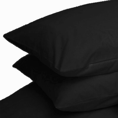 Linens Limited Polycotton Percale 180 Thread Count Housewife Pillow Cases, Black, Pair