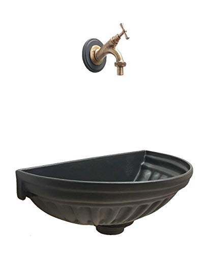 Fontana a muro colore grigio ghisa vasca versilia e rubinetto in ottone brunito per casa e giardino