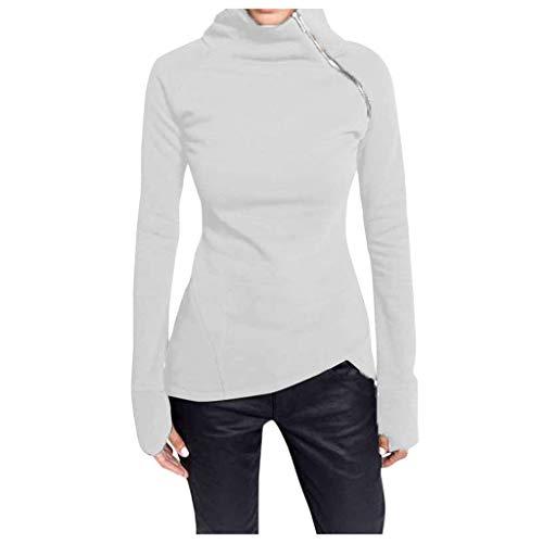 Donna Collo Alto Sweatershirt Casual Maniche Lunghe Pullover Donne Diagonale Zipper Oversize Pantaloni Tops(Bianca,S)