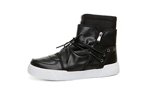 Scarpe Per Uomo Autunno Skateboard Sneakers Zipper In Pelle Nero 43 EU Suola Gomma