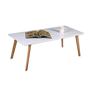ASPECT Avignon Rectangular Wooden Coffee Table-White TOP,Natural Legs, Wood, 110x50x40 cm