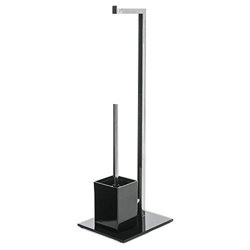 Portarrollos escobilla minimalista negro de metal para cuarto de baño Basic