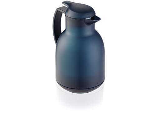 Leifheit Bolero 1,0 L Isolierkanne, 100% dicht, Thermoskanne mit doppelwandigem Vakuum-Glaskolben, praktisches Öffnen und Schließen mit einer Hand, Kaffekanne, Teekanne, dunkelblau, gefrostet -