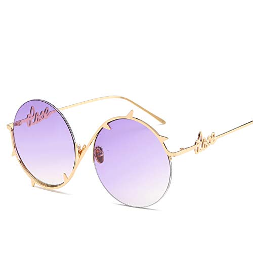 ZJWZ Mode Metall Runde Rahmen Thorn Border Persönlichkeit Sonnenbrille Europa und die Vereinigten Staaten Trend Männer und Frauen mit Sonnenbrille,NO5