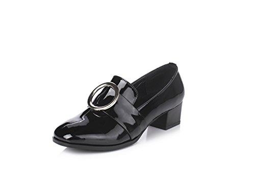 Yiye Mocassins Femme Cuir Verni Chaussures Noir