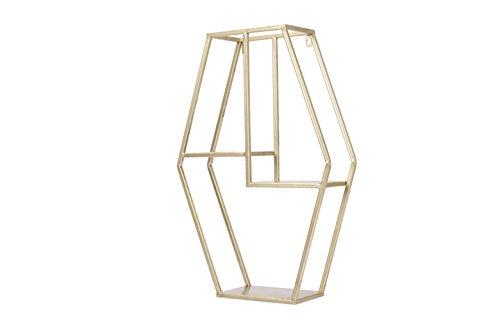 Dipamkar - Metallregal im Industrie-Stil - Wandregal aus Metall - Metallwand-Hängenden Regale - Wand-Speicher-Präsentationsständer - Wand Metallregal-Gestelle(Farbe: Gold)