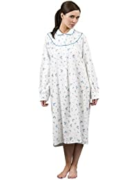 c3fcbede38 Wincy Winceyette 100% Brushed Cotton Ladies Floral Nightie Nightdress -  Colours + Sizes