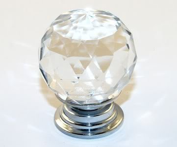10 X Crystal Acrylic Glass Diamond Cut Door Knobs Kitchen Cabinet Drawer knobs with Screw for Home Decorating (30mm, Clear)