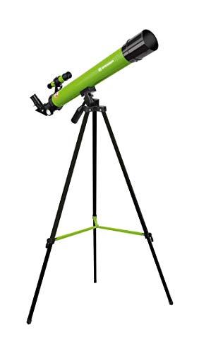 Bresser Junior Linsenteleskop 50/600 AZ mit Stativ zum Beobachten von Mond, Planeten und Tageslichtbeobachtungen inklusive Zubehör, grün
