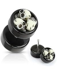 bkwear 2x F176 Boucles d'oreilles Skull 3D Tête de Mort 8 mm Crâne Faux Ecarteur Plug Acrylique