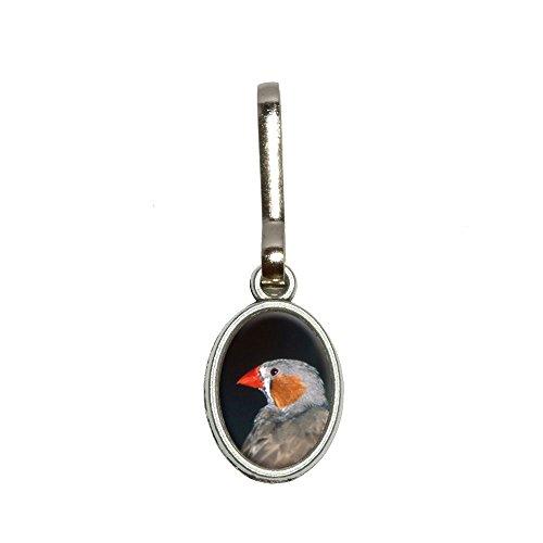 Australian Zebra Finch–Vogel Antik Oval Charm Kleidung Geldbörse Gepäck Rucksack Zipper Pull (Vogel Finch)