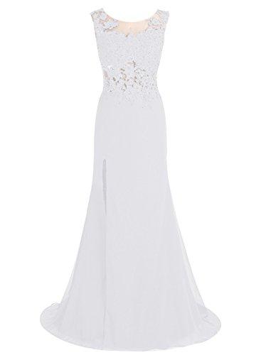 Bbonlinedress Robe de cérémonie Robe de soirée avec appliques en dentelle traîne moyenne Blanc