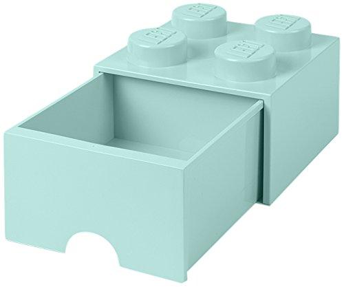 LEGO 4005 Brick 4 Knöpfe, 1 Schublade, stapelbar Aufbewahrungsbox, 4,7 l, Aqua (Mint grün), Plastik, Legion Light Blue, 25 x 25 x 18 cm