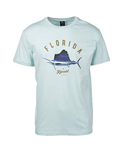 Männlichen Stolz T-shirt (Rip Curl Surfing States Herren,T-Shirt,Short Sleeve Tee,Kurze Ärmel,Rundausschnitt,Light Blue,L)