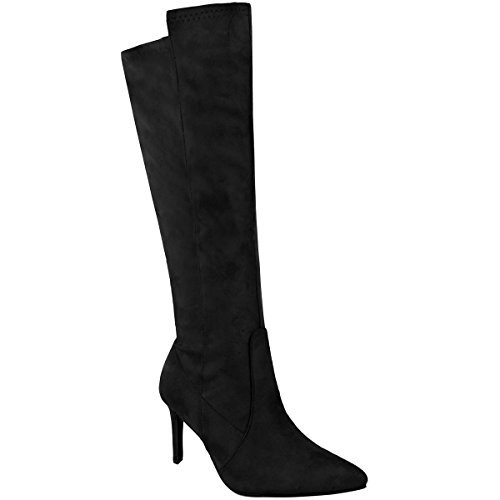 Fashion Thirsty Damen Stretch-Stiefel mit Mittelhohem Stiletto-Absatz - Schwarz Veloursleder-Imitat - EUR 40 (Veloursleder-wedge-stiefel)