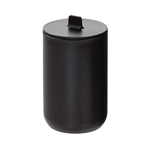 iDesign Cade Coperchio cilindrico Contenitore plastica e Organizer Bagno per Cotone Cotton fioc Cosmetici e Altro Nero 80 Diametro x 13