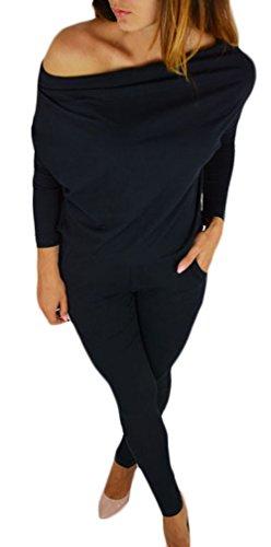 0d2e1bdbb26578 Donna Tute Eleganti Tutine Intere Jumpsuit Lunghi Estive Manica Lunga Senza  Spalline Casuale Tubino Tuta Taglie Forti Puro Colore con Tasca  Pagliaccetto ...