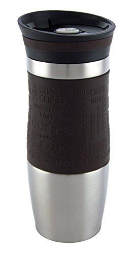 Vakuumisoliert Hervorragende Qualität Thermobecher Travel mug Für Kaffee oder Tee Rostfreier Stahl Thermosflasche Doppelwandig Ein Hand öffnen (400 ml, Braun) - Vertikale Stahl-flüssigkeit