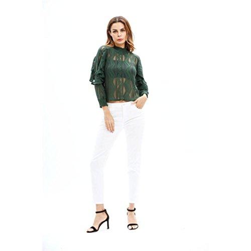 Chemisier LILICAT Femmes Mode Pullover Blouse Trois quarts de manches Tops à manches de lanternes Chemise en dentelle Chemisier Army Green