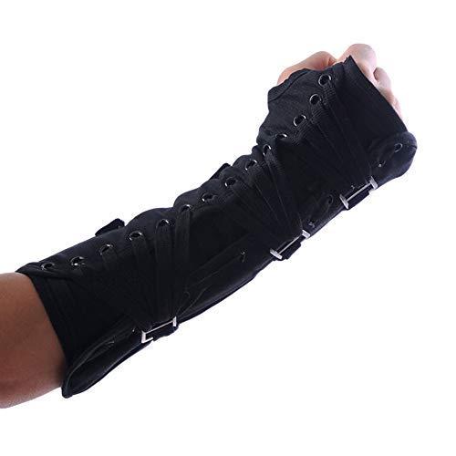 Thriller9 Michael Jackson Armbrace-Handschuh Classic MJ BAD Jam Metallschnallen Bracer Baumwolle Bandage Punk Handschuh Kollektion schwarz - Schwarz - Linke Hand/Freie Größe
