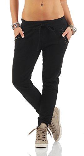Mr. Shine® – Damen Sweat Hose Mit Taschen Nieten, Jogginghose Stoffhose Sommermode Große Größen S, M, L, XL, XXL, XXXL (S, Schwarz) (Capri Print-bluse)