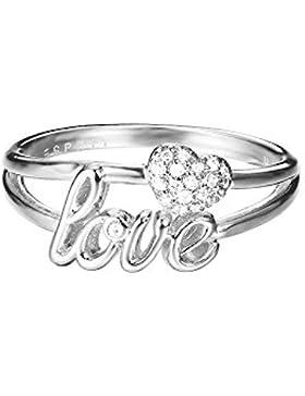 ESPRIT Damen-Ring JW52882 Messing rhodiniert Zirkonia transparent ESRG02773A1