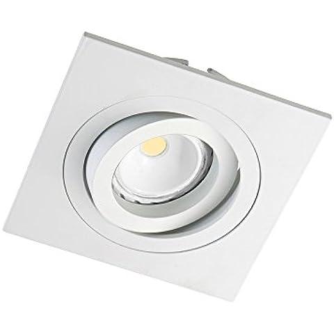 CristalRecord Helium - Kit de foco empotrable cuadrado, portalámparas y bombilla LED COB, 8 W, GU10, luz cálida 3000° K, color blanco