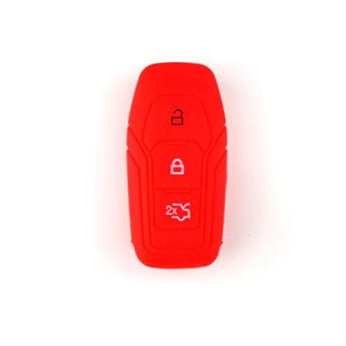 Brightparts® Silikon Schlüsseletui Hülle Etui Schlüssel Cover für Ford mit Power-Startfunktion oder Key Free-System (Rot)
