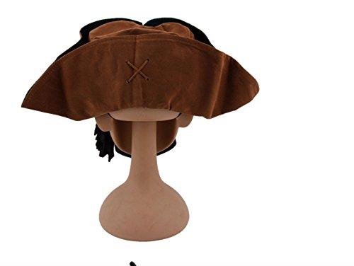 Jack Sparrow Pirata Cappello Tricorno Marrone - Costume da pirata per  adulti e bambini - Perfetto per Carnevale e Halloween - Taglia unica e2d394b95bb0