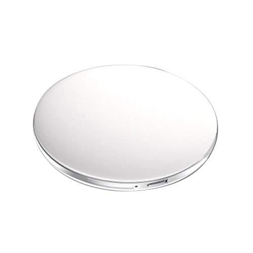 Taschenspiegel Zweiseitiger Schminkspiegel mit LED Licht, 1X / 5 X Vergrößerung - Kompakt, Tragbarer, Große Make-up-Spiegel Kosmetikspiegel Beleuchtet für Kosmetik Unterwegs (Schwarz, Weiß,Rosa) (Tragbarer Make-up-spiegel)