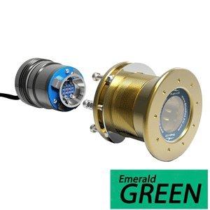 Bluefin LED Mako M12 - 24V Through Hull Underwater Light 6100 Lumens Interchangeable Flush Mount - Emerald Green