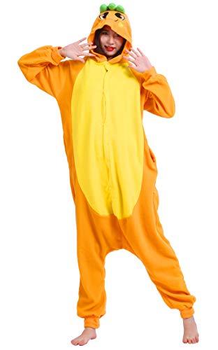 Unisex Kigurumi Jumpsuit Tier Pyjamas Kostüm Fasching Onesie Damen Herren Karneval Cosplay Nachtwäsche, Karotte