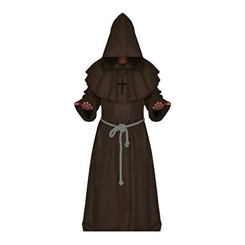 Männer Kostüm Asian - Meedot Kostüm Renaissance Priester Robe Halloween Cosplay Kostüm Mittelalterlichen Tunika mit Kapuze Robe 5 Farben S-XL