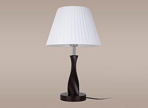 XINQITAIDENG Hundert Pleats Stoff Lampenschirm Tischlampe Holz Sockel Schreibtisch Leselicht, White -