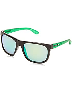 Arnette Fire Drill - Gafa de sol rectangular color negro brillante y lima con lentes color cromo, 59 mm