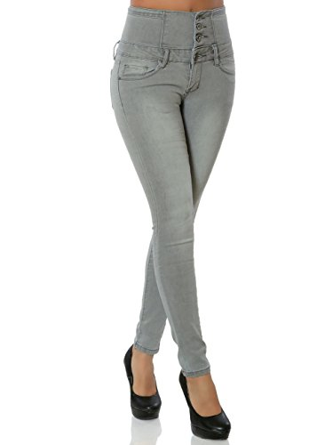 Daleus Damen High-Waist Jeans Skinny Hose Stretch DA 15863 S / 36 Hellgrau
