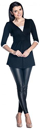 Zeta Ville - Damen Zweilagiges Still Top Schwangerschaft Kontrastdetails - 950c Schwarz & Weiß