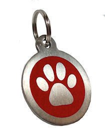 Personalised Engraved 32mm Stainless Steel Red Paw Dog Pet ID Tag from County Engraving